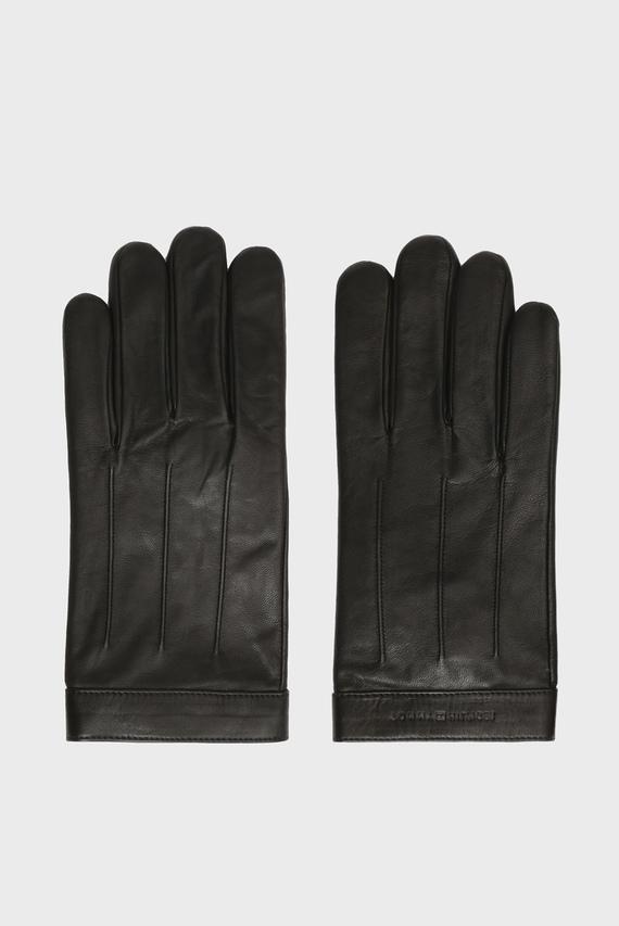 Мужские черные кожаные перчатки  LOGO EMBOSSED
