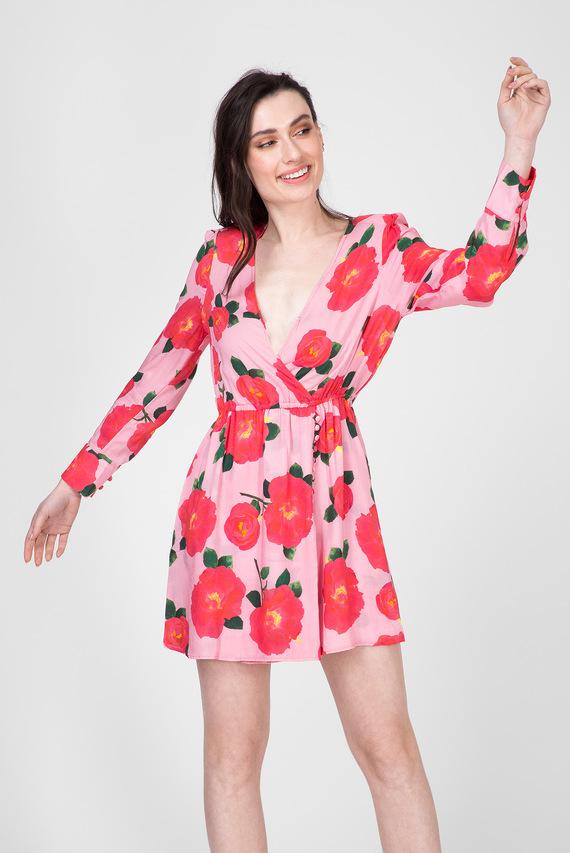 Женское розовое платье с принтом
