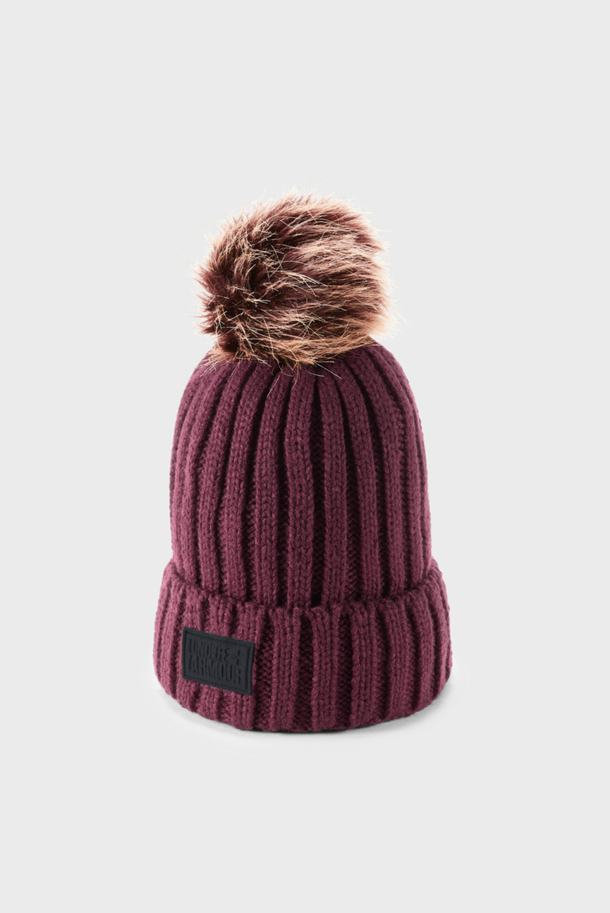 Женская бордовая шапка Snowcrest Pom Beanie