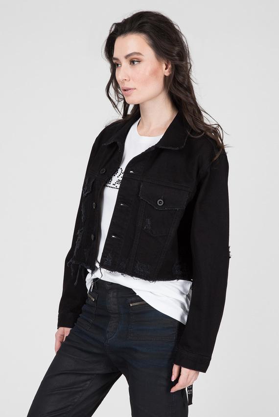 Женская черная джинсовая куртка DE-POPPY