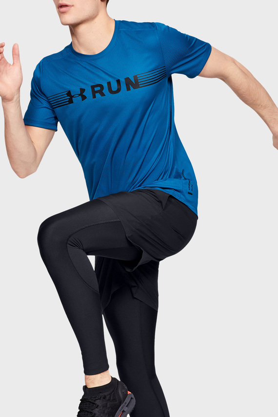 Мужская синяя футболка UA RUN WARPED SHORTSLEEVE