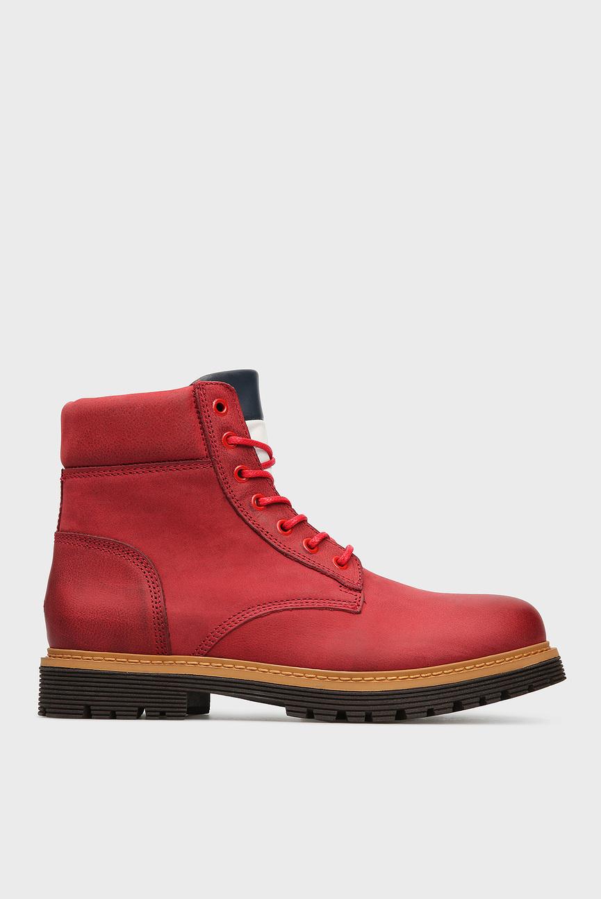 Мужские красные кожаные ботинки