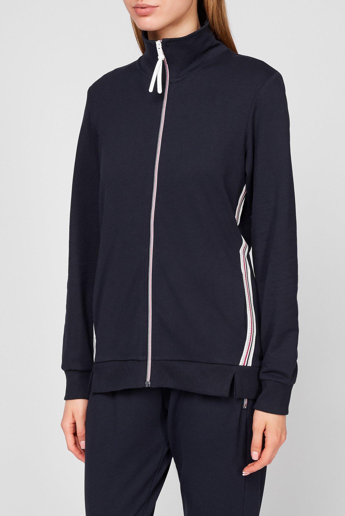 Женская темно-синяя спортивная кофта 1