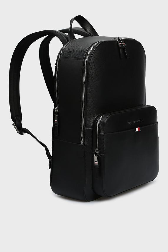 Мужской черный кожаный рюкзак BUSINESS