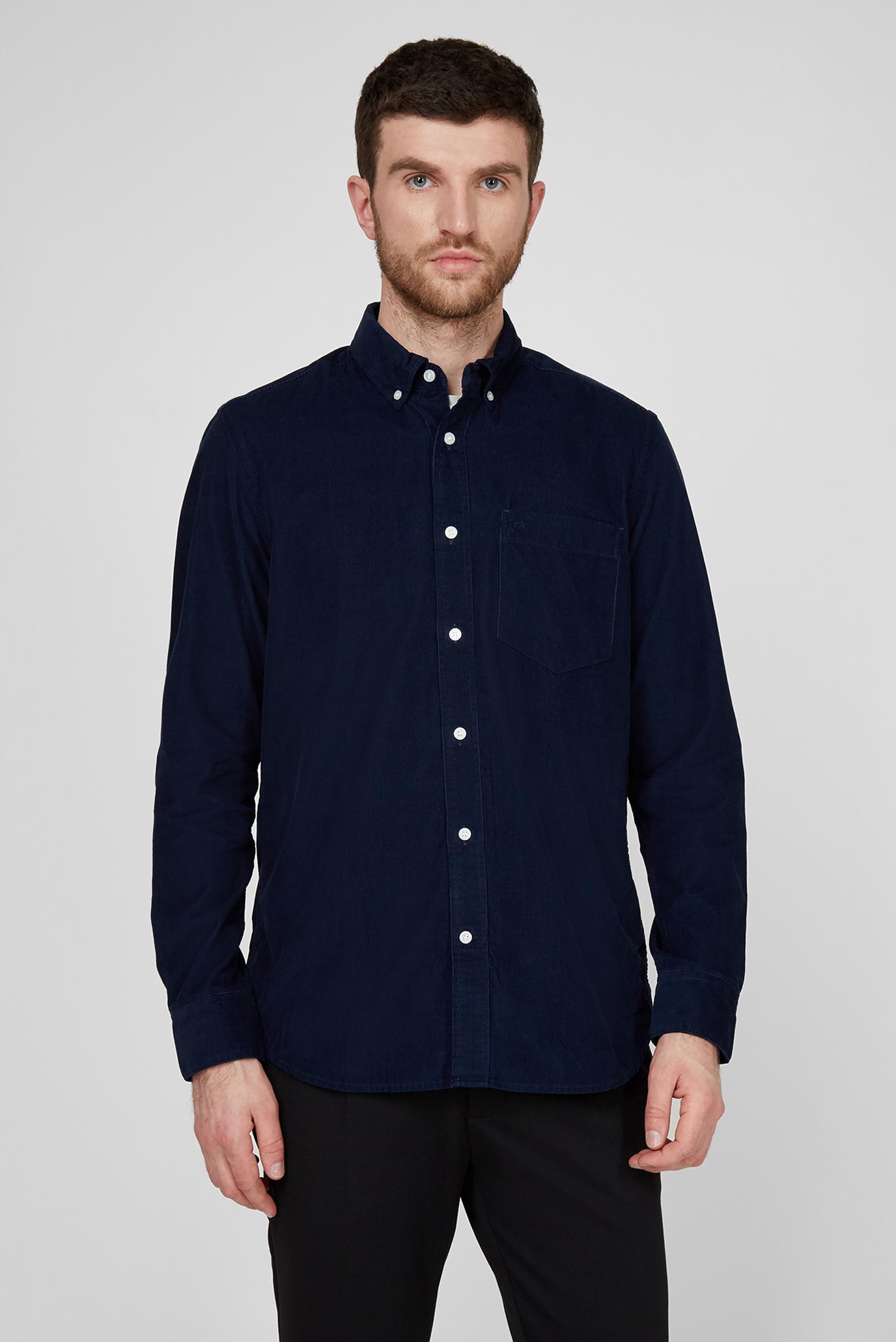 Мужская синяя вельветовая рубашка BUTTON DOWN FINE CORDUROY SHIRT 1