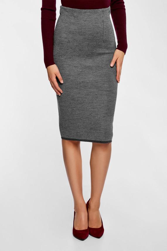 Женская серая юбка-карандаш