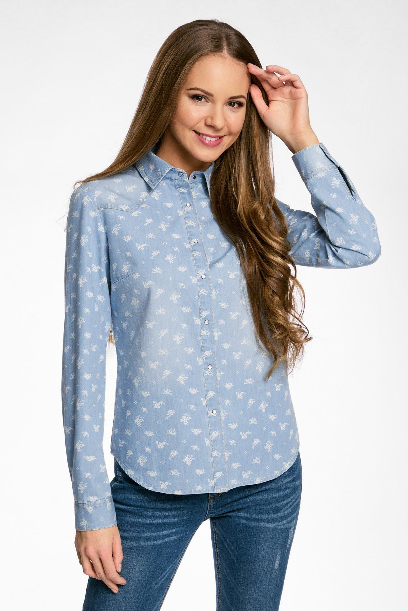 10280e0b972 Купить Женская джинсовая рубашка Oodji Oodji 16A09003-2 46361 7012D – Киев