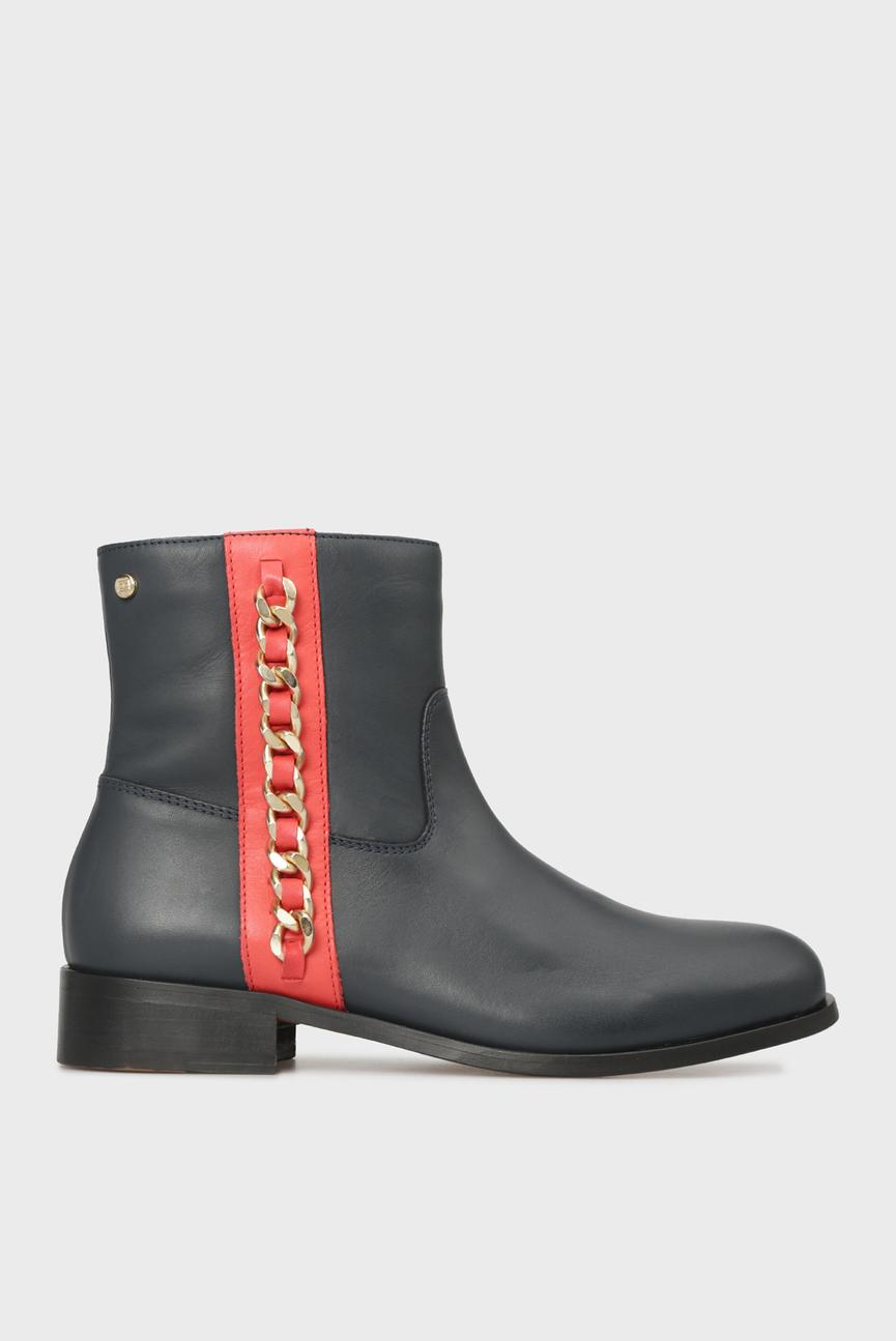 Женские темно-синие кожаные ботинки