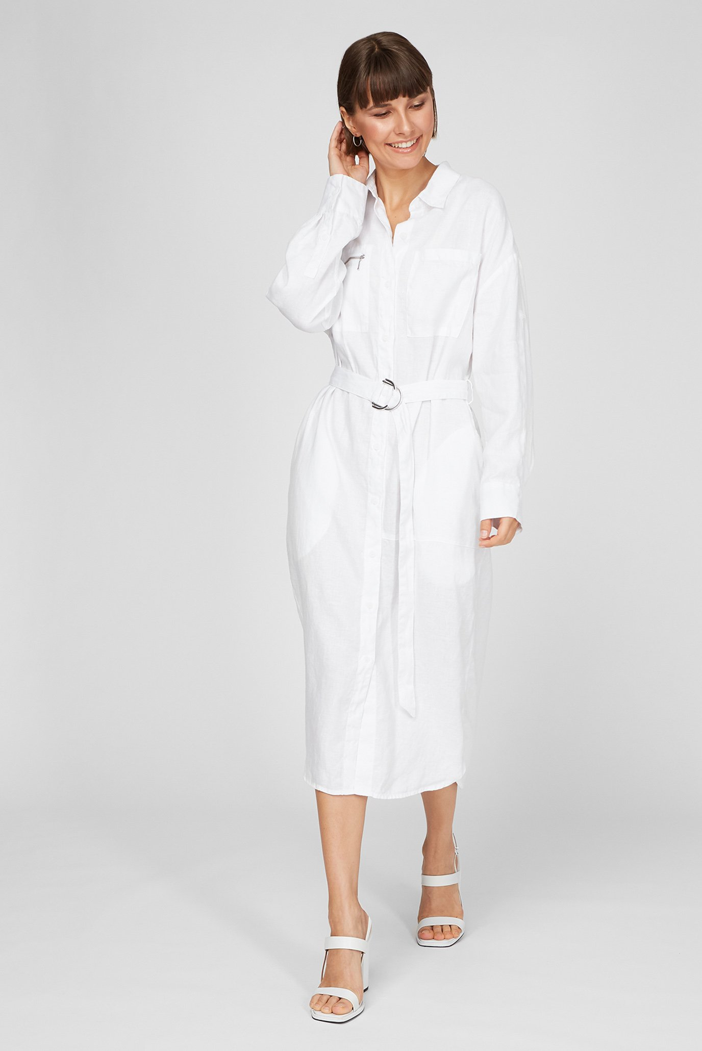 Жіноча біла лляна сукня 1