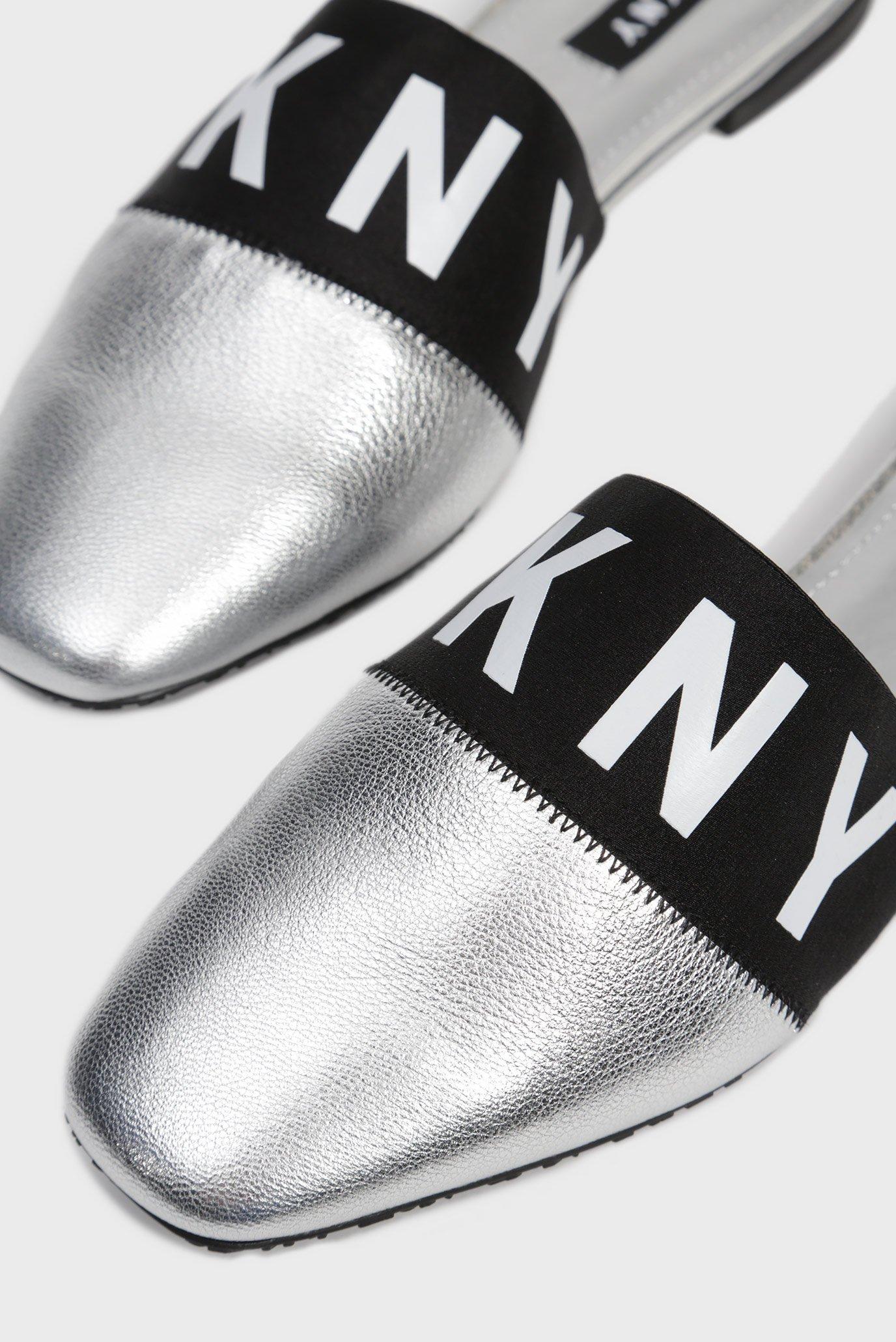 Женские серебристые кожаные мюли DAWN DKNY