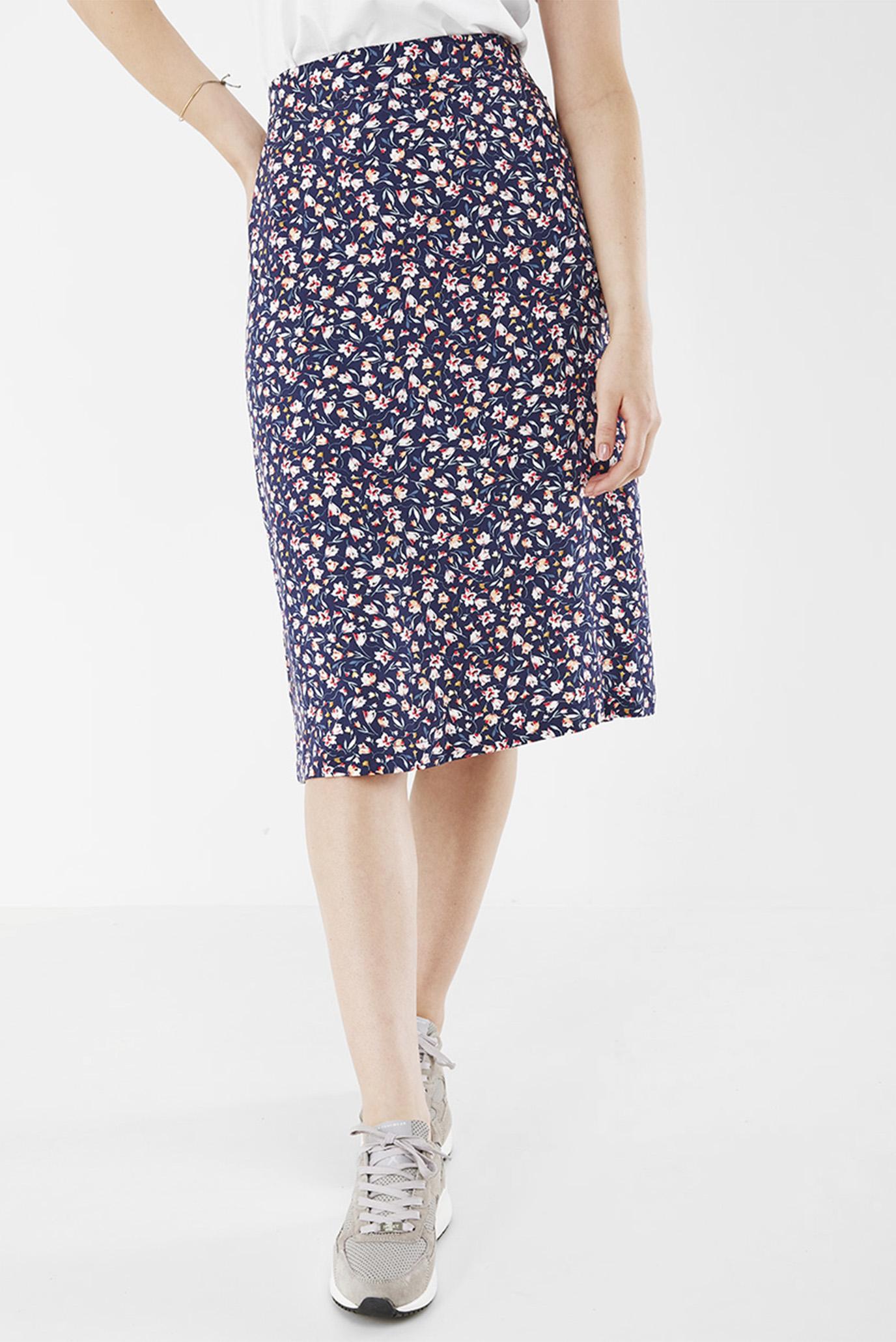 Женская темно-синяя юбка с узором 1