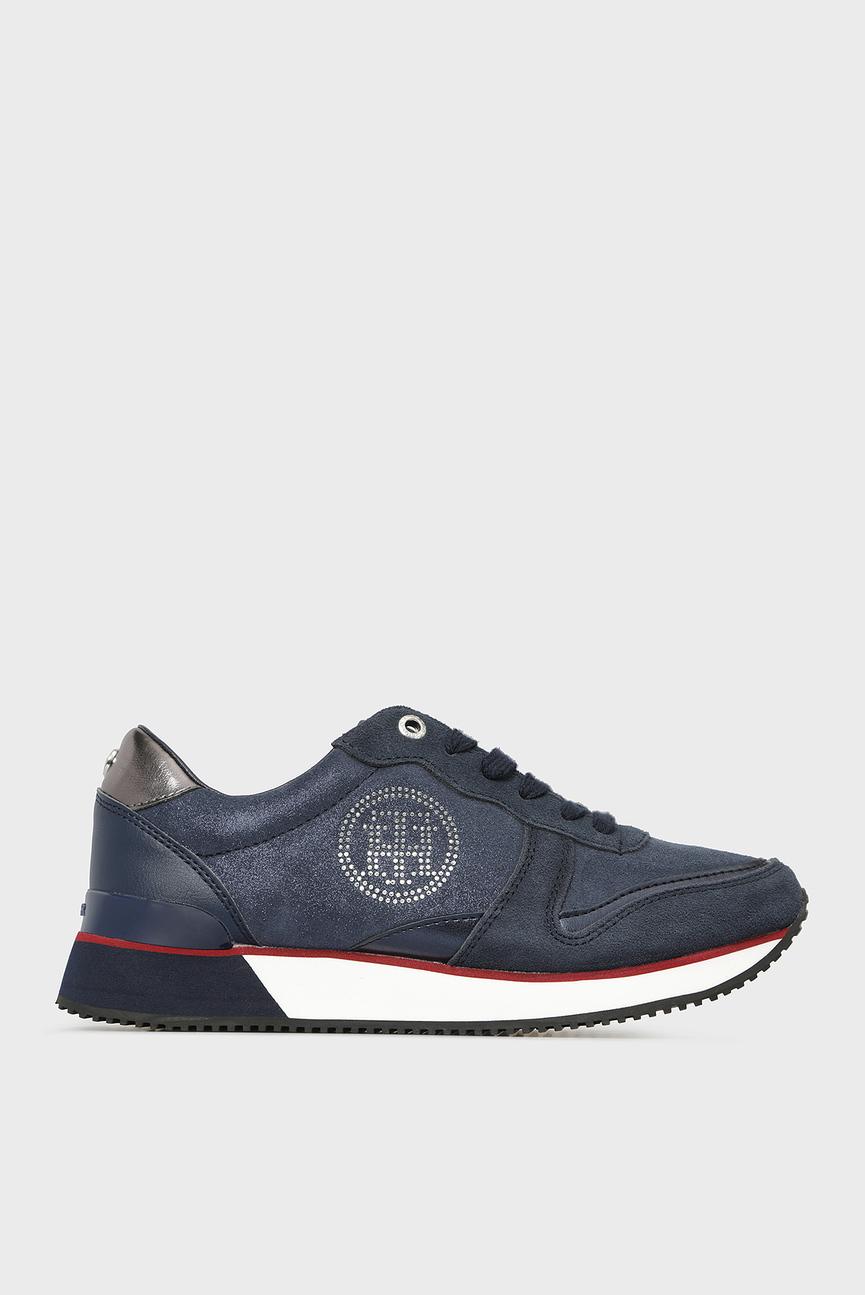 Женские темно-синие замшевые кроссовки