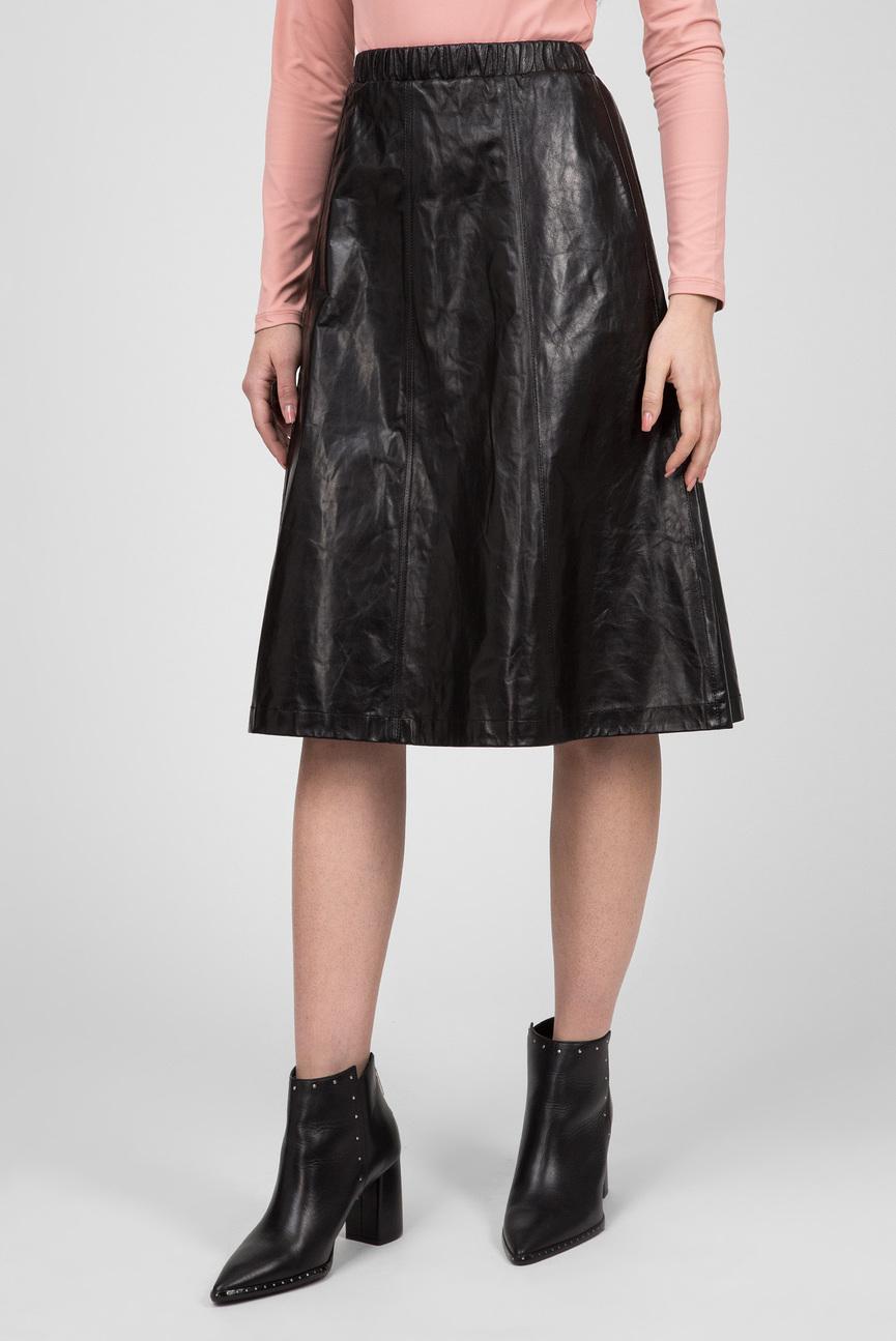 Женская черная кожаная юбка