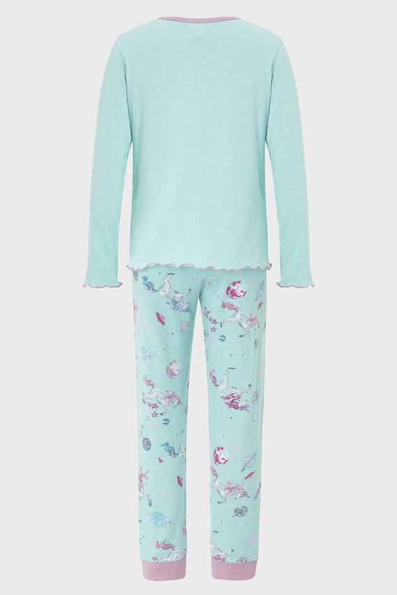 Детская голубая пижама Peggy Unicorn (лонгслив, брюки)