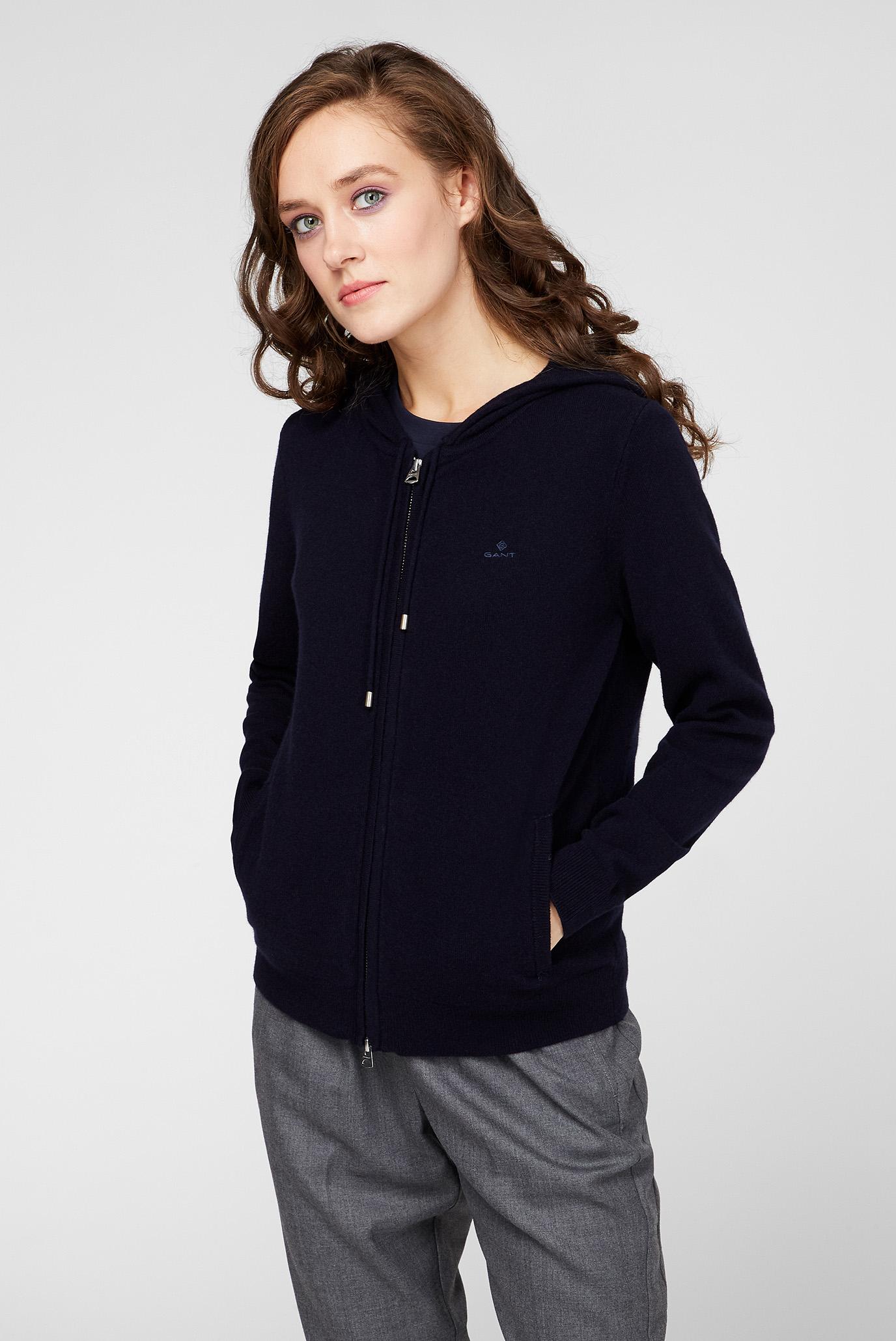 Женское темно-синее шерстяное худи SUPERFINE LAMBSWOOL ZIP Gant
