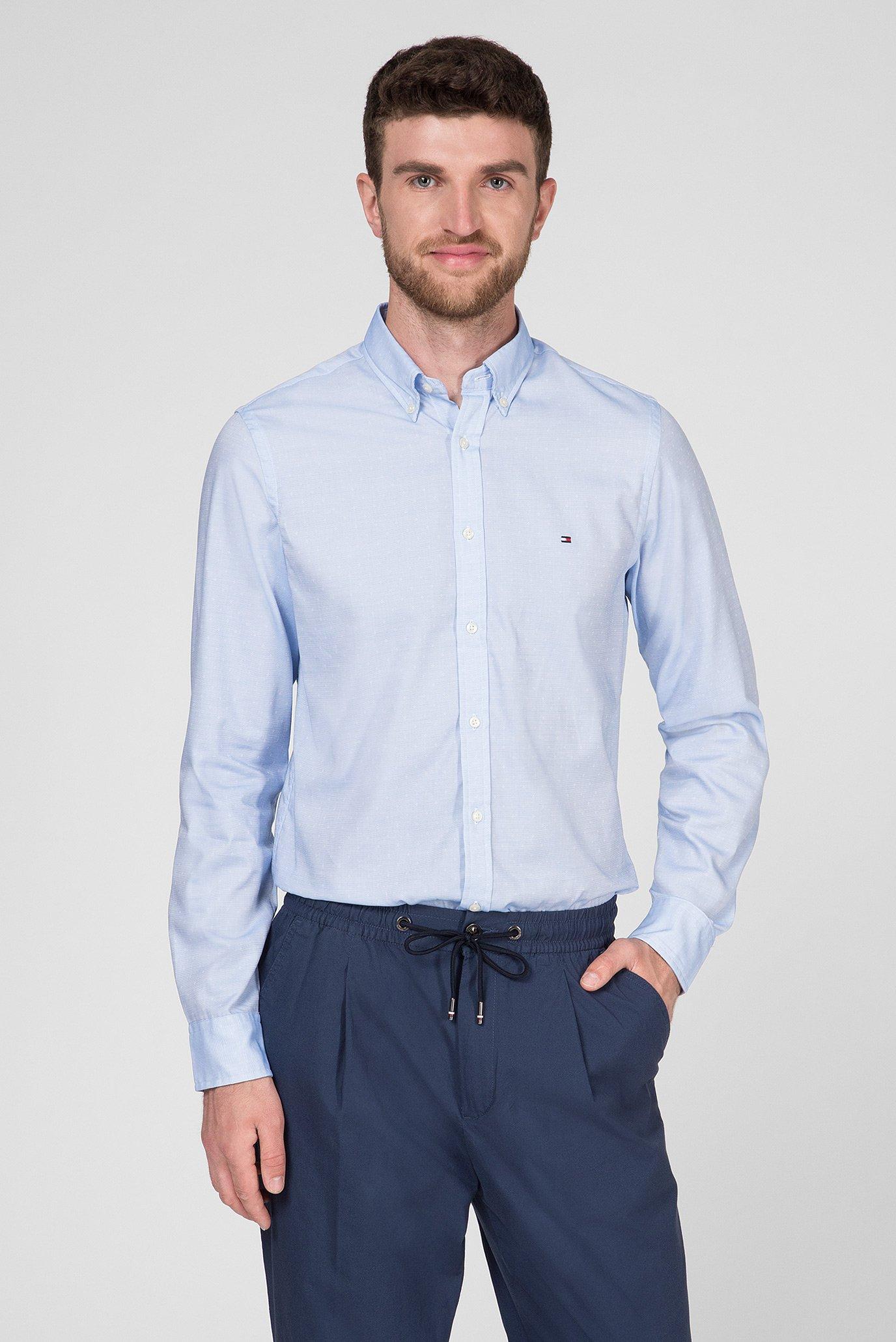 87806d7e180a Купить Мужская голубая рубашка SLIM END ON END DOBBY Tommy Hilfiger ...