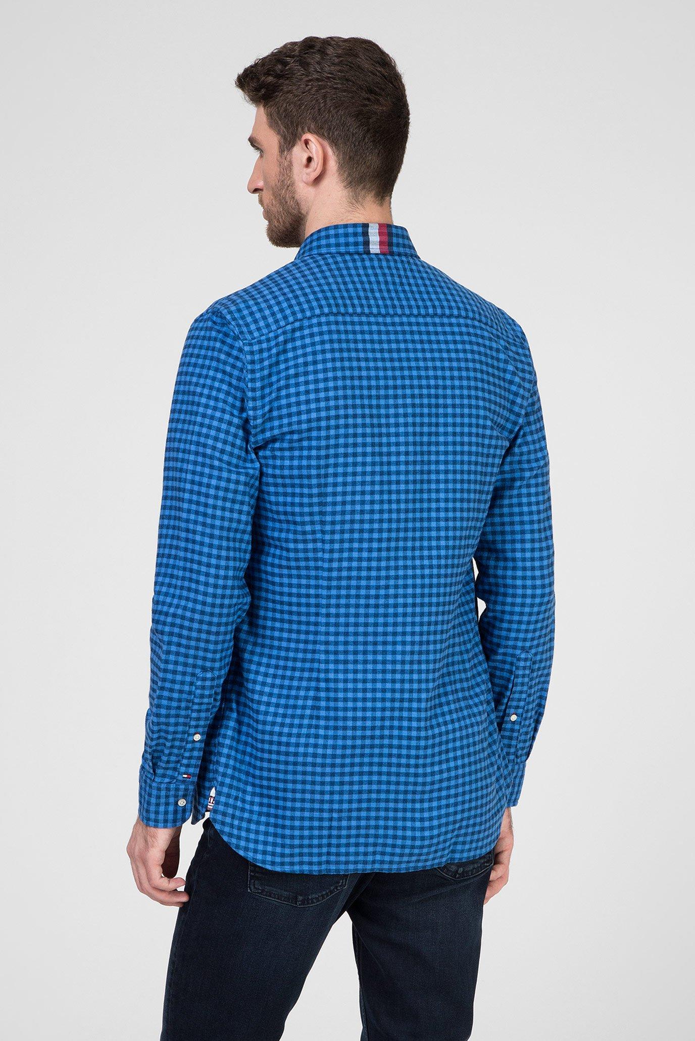 Мужская синяя рубашка в клетку SLIM GLOBAL STRIPE GINGHAM Tommy Hilfiger