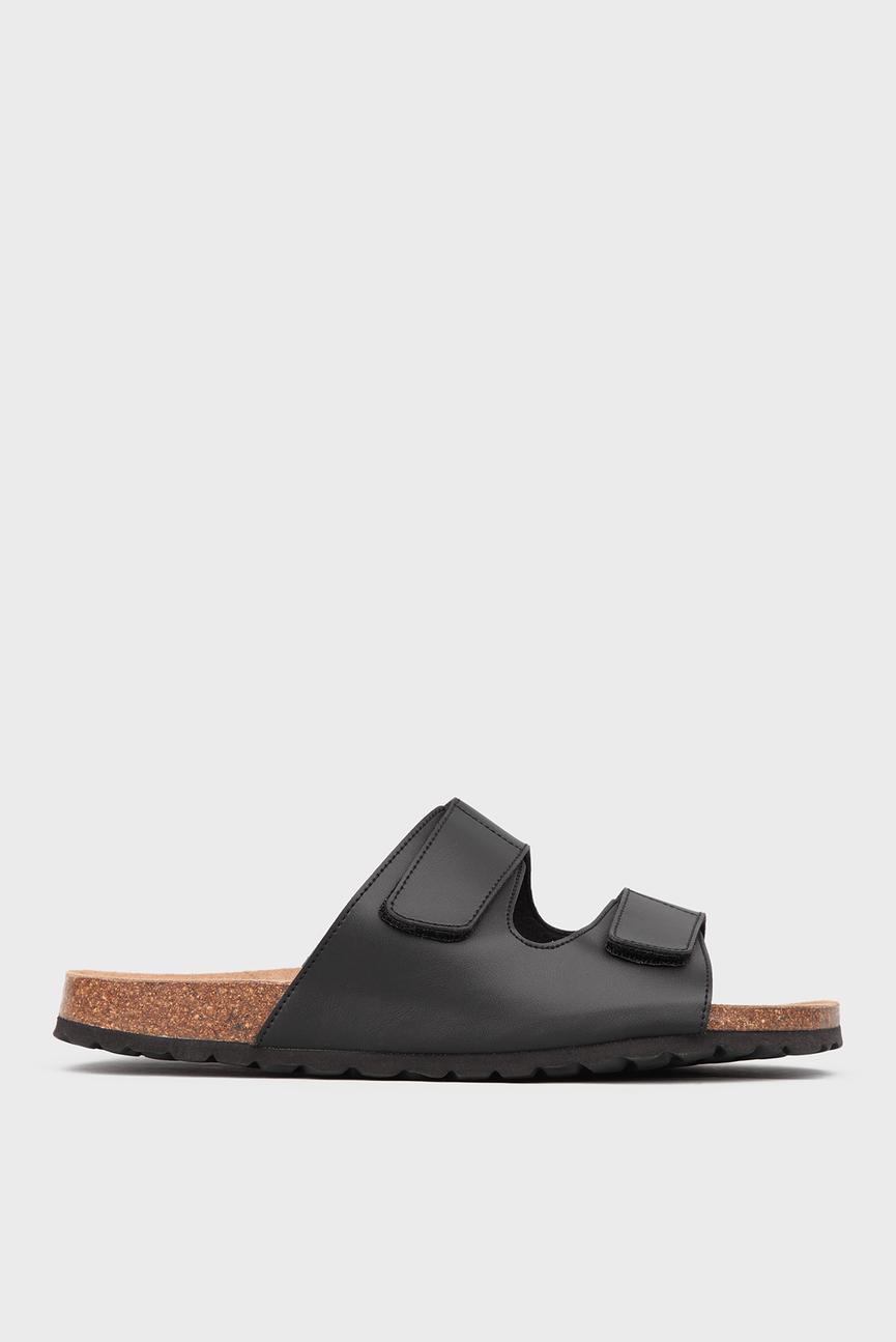 Мужские черные сандалии на липучках