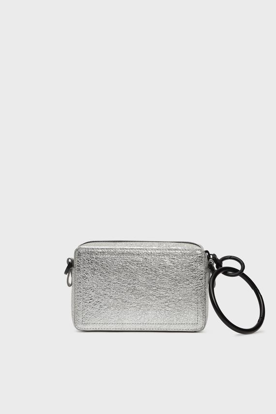 Женская серебристая кожаная сумка через плечо KUB8 / ROSA