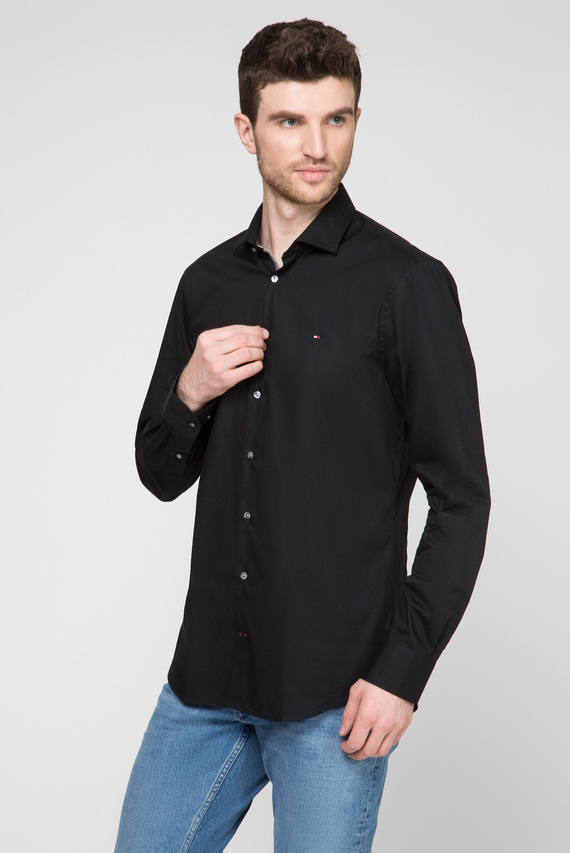 Мужская черная рубашка POPLIN CLASSIC SLIM  EASY CARE