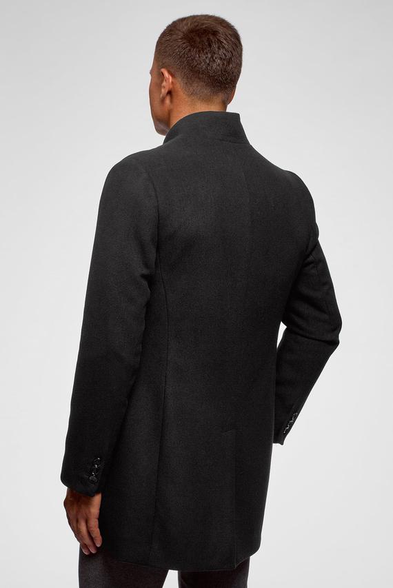 Мужское черное однобортное пальто