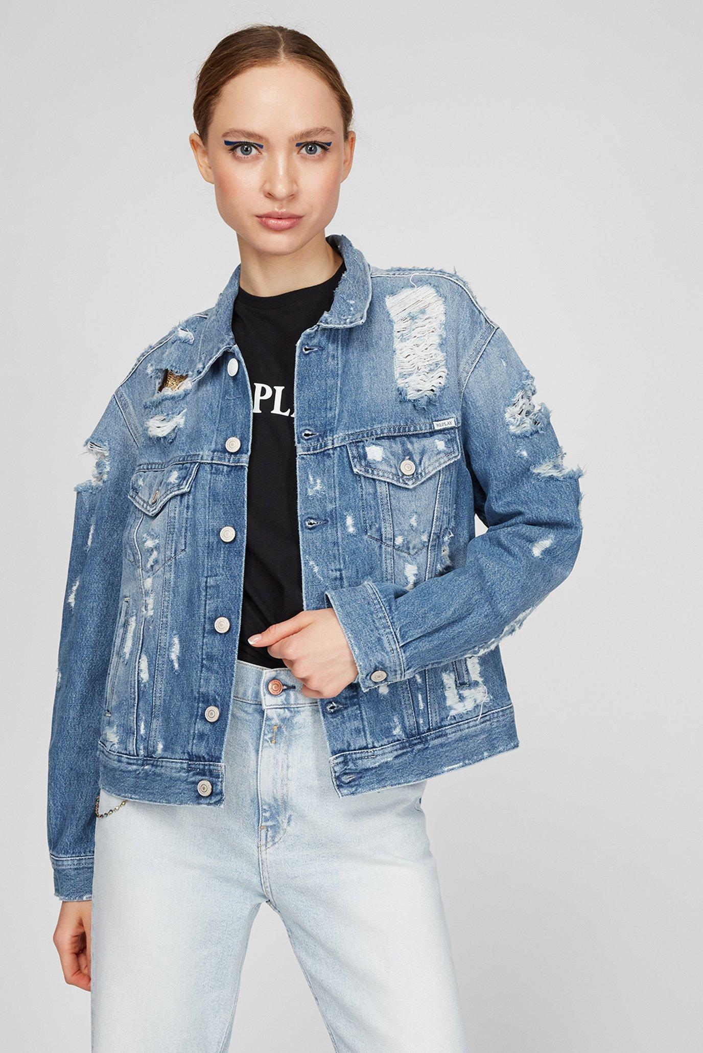 Женская голубая джинсовая куртка 1