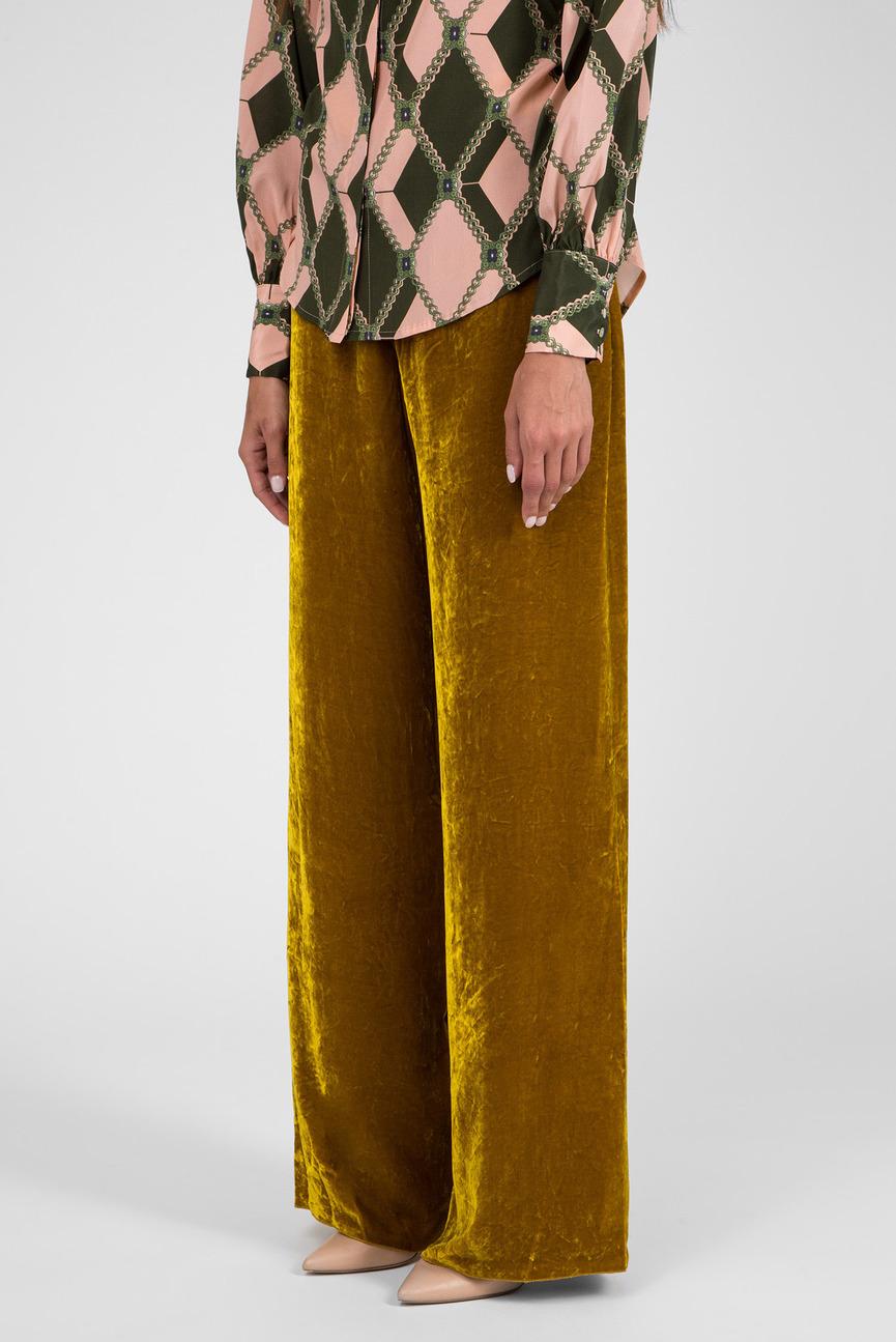 Женские горчичные бархатные брюки