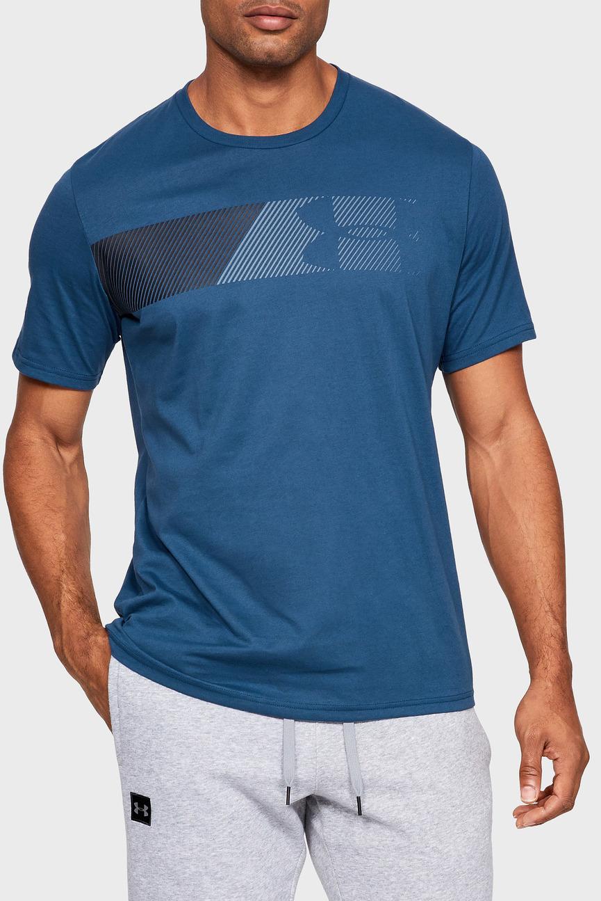 Мужская синяя футболка UA FAST LEFT CHEST 2.0 SS