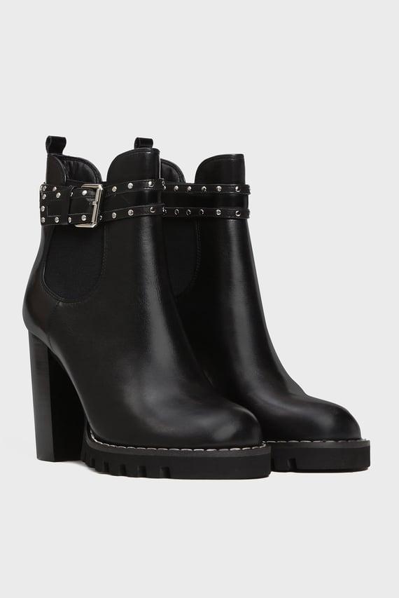 Женские черные кожаные ботильоны Maiden