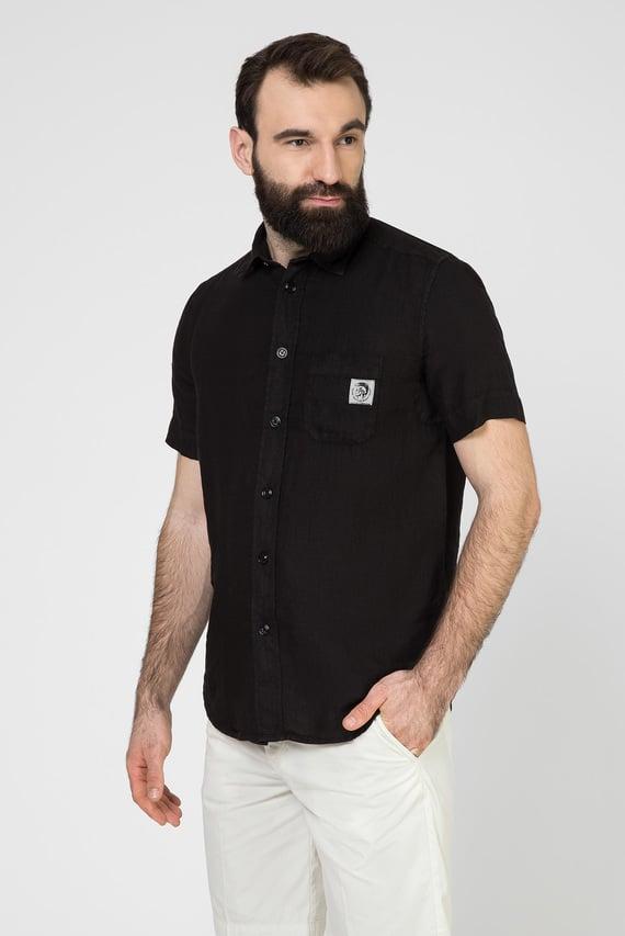 Мужская черная льняная рубашка S-KIRUMA