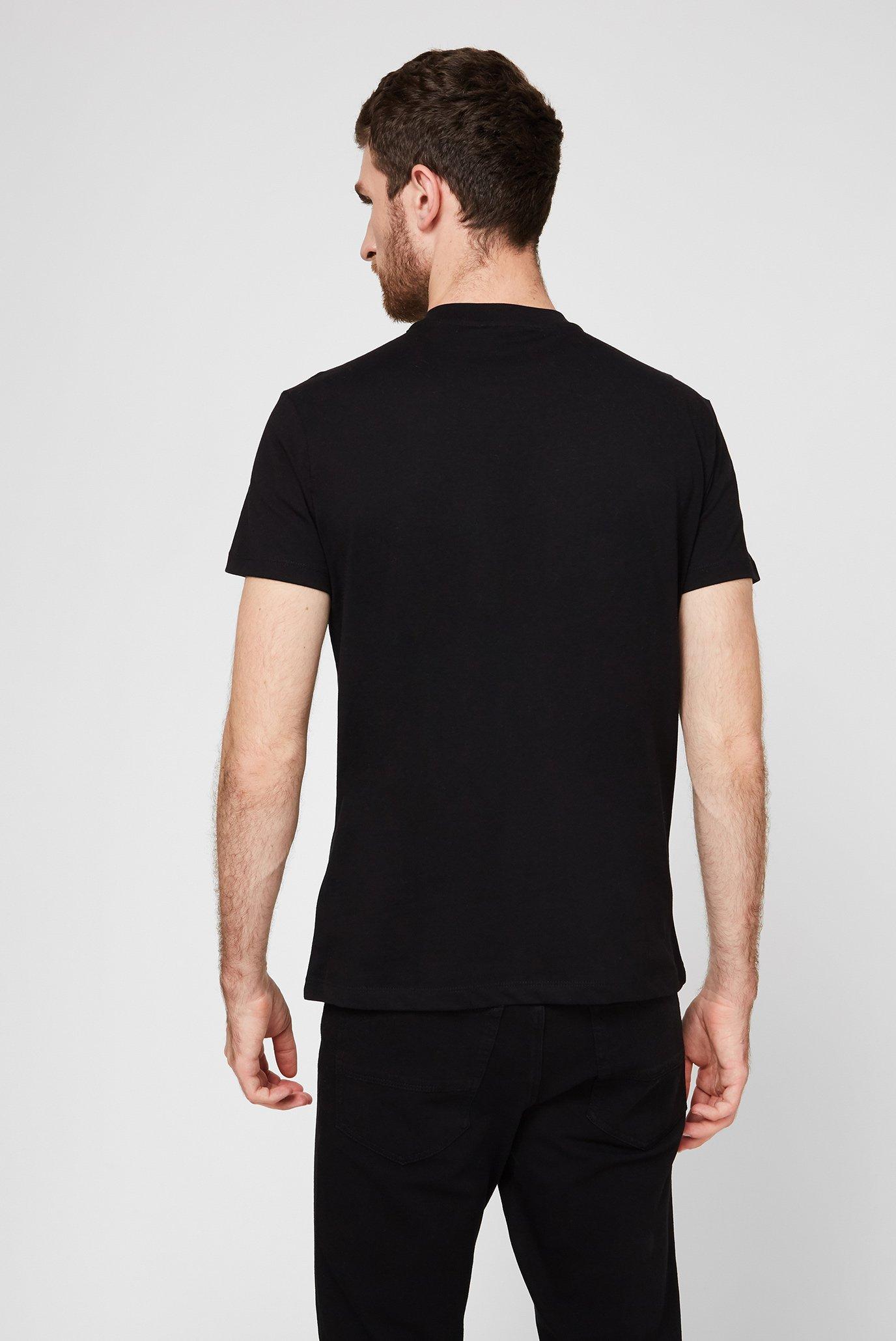 Мужская черная футболка с принтом BOXY FIT Trussardi Jeans