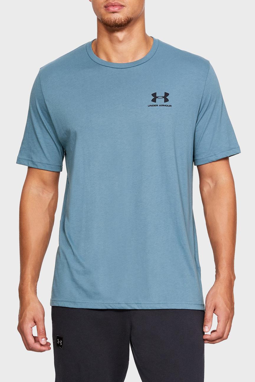Мужская голубая футболка SPORTSTYLE LEFT CHEST
