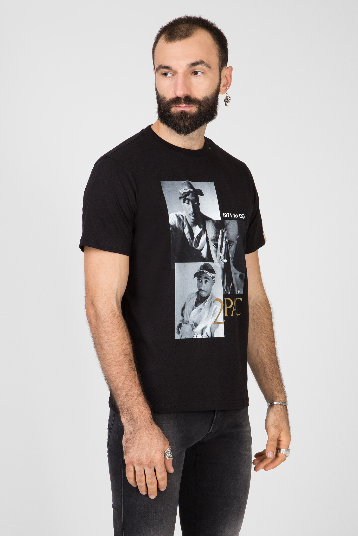 Мужская черная футболка TRIBUTE 2PAC Replay