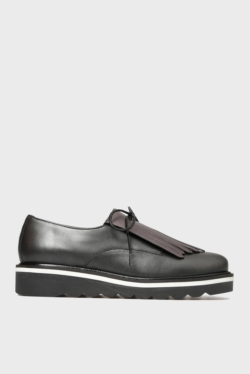 Женские черные кожаные туфли на платформе