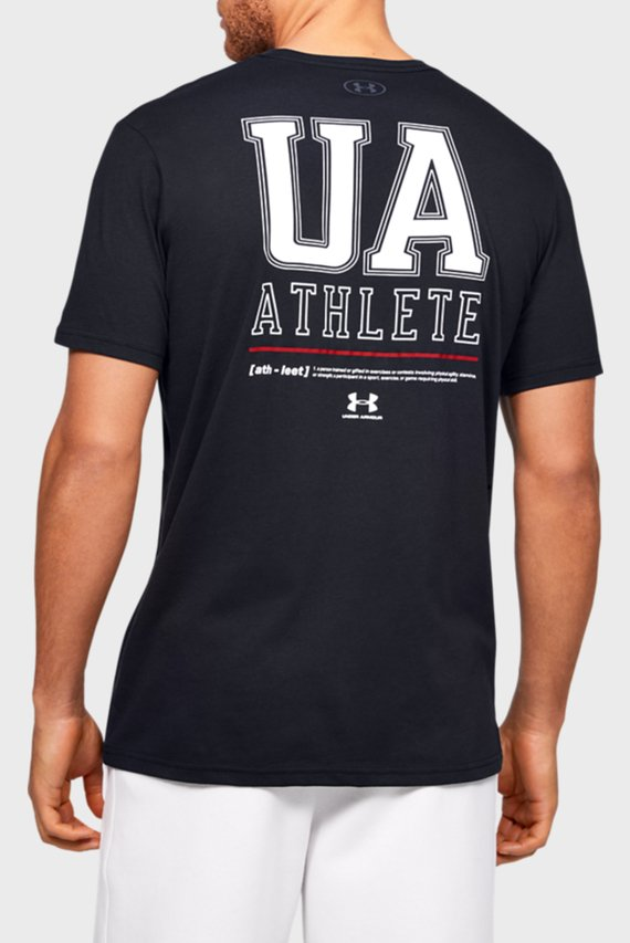 Мужская черная футболка UA VERTICAL LEFT CHEST LOGO SS