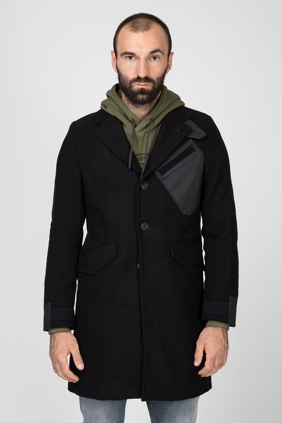 Мужское черное шерстяное пальто Varve