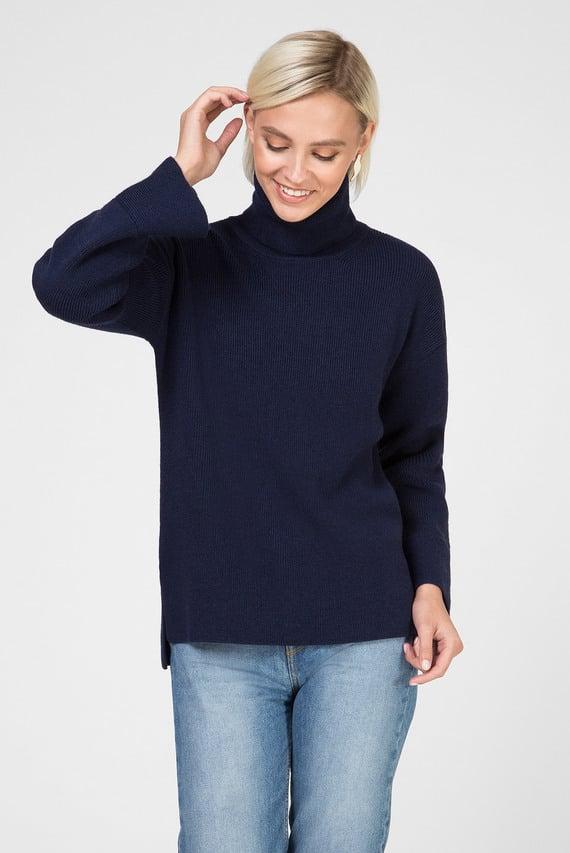 Женский темно-синий шерстяной свитер
