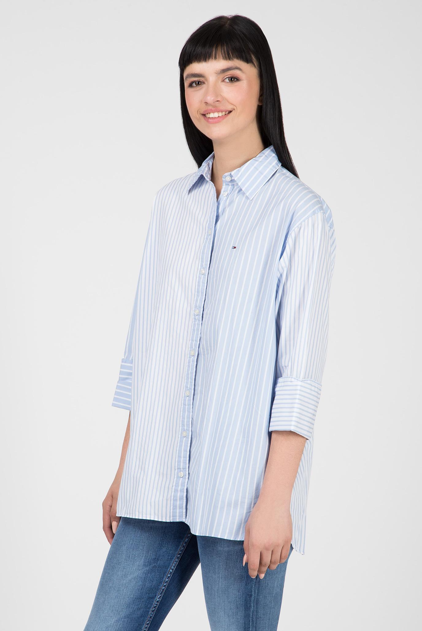 Купить Женская голубая рубашка в полоску TJW CONTRAST STRIPE Tommy Hilfiger Tommy Hilfiger DW0DW05787 – Киев, Украина. Цены в интернет магазине MD Fashion