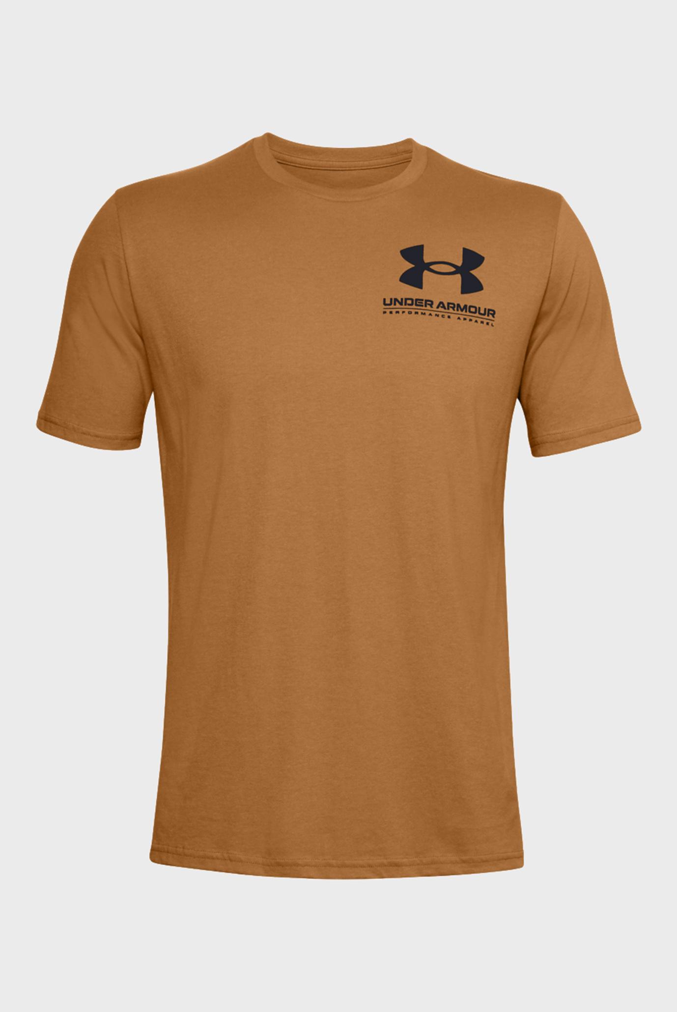 Чоловіча темно-помаранчева футболка UA PERFORMANCE BIG LOGO SS-YLW 1