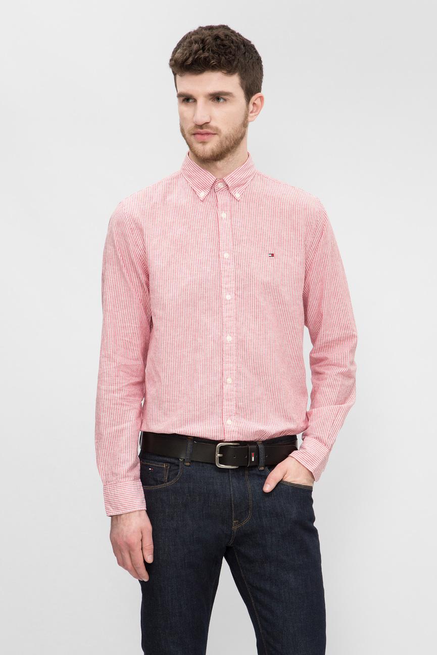 Мужская красная рубашка в полоску