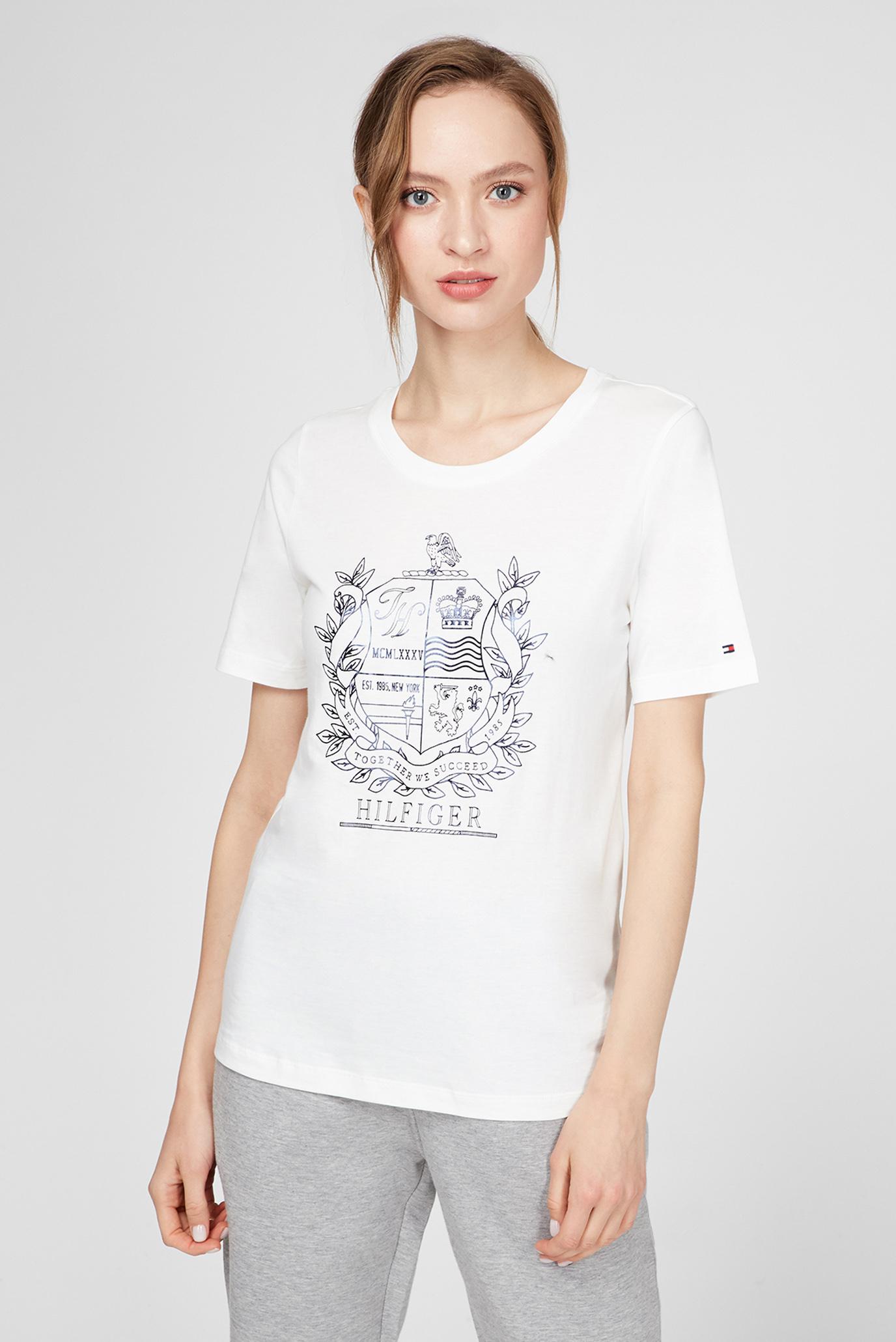 Жіноча біла футболка REGULAR C-NK CREST 1