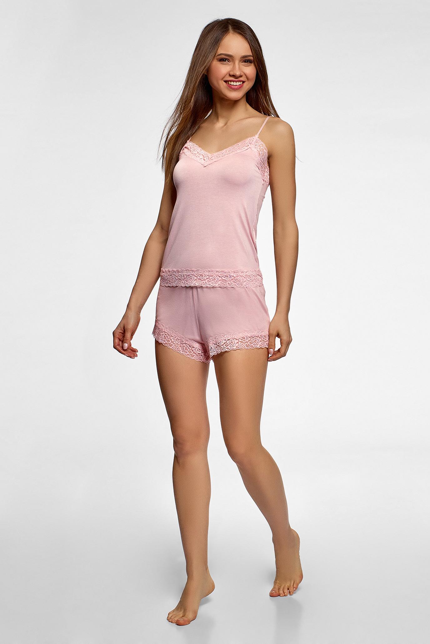 Женская розовая пижама (майка, шорты) Oodji