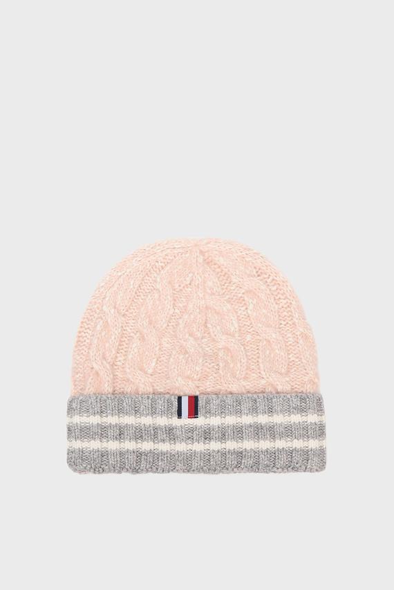 Женская розовая шапка CABLE KNIT BEANIE