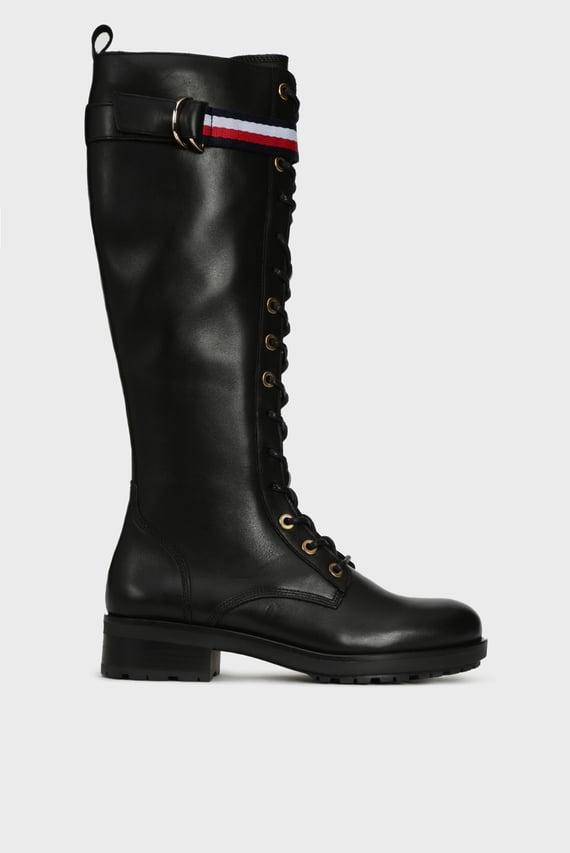 Женские черные кожаные сапоги CORPORATE RIBBON BIKER