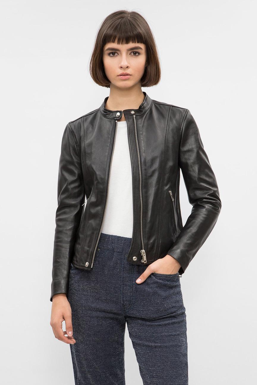 Женская черная кожаная куртка
