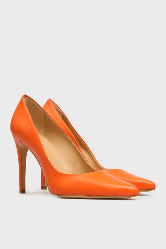 Женские оранжевые кожаные лодочки Gigi