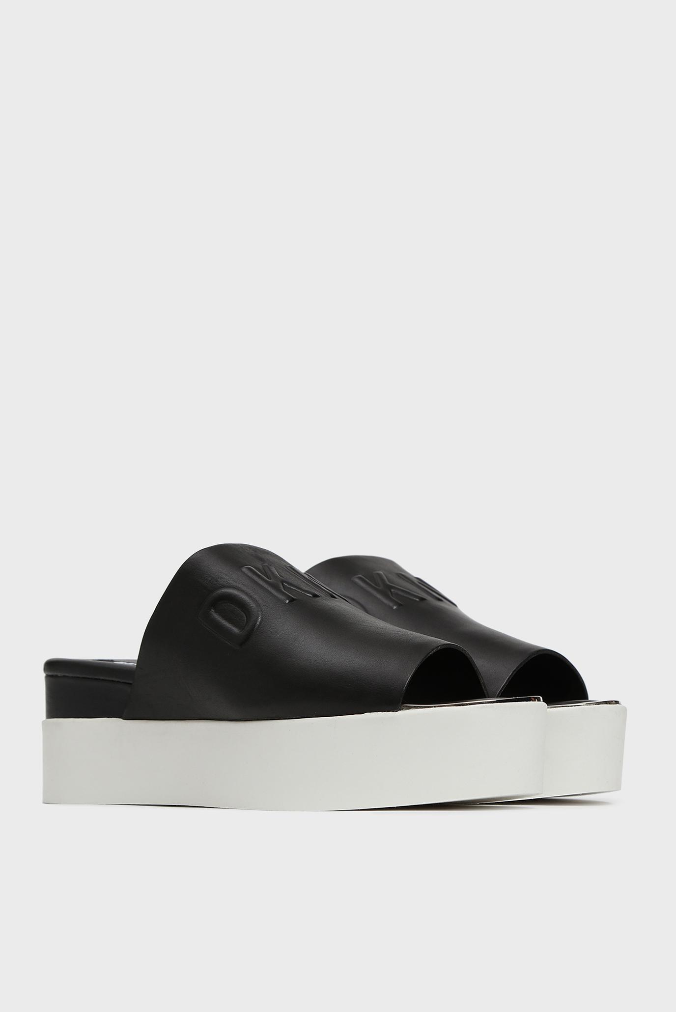 Женские черные кожаные слайдеры COVO DKNY