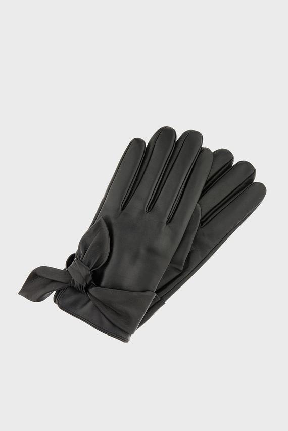 Женские черные кожаные перчатки KNOTTED LEATHER GLOVE