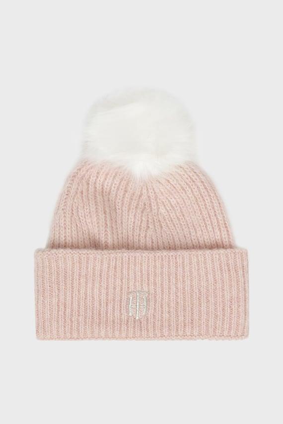 Женская розовая шапка TH POMPOM