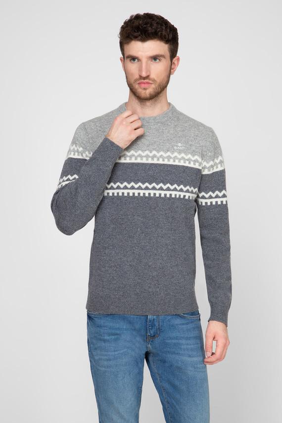 Мужской серый шерстяной свитер с узором HOLIDAY STRIPE